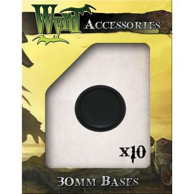 Black 30mm Premium Plastic Bases - 10 Pack