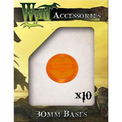 Orange 30mm Translucent Bases - 10 Pack
