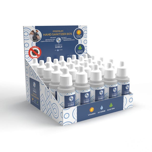 Nordic Shield Hand Sanitizer Box of 25x 18ml bottles